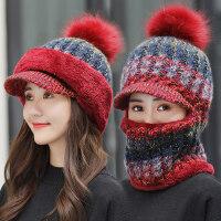 韩版潮骑车防风针织帽子女 围脖一体连体帽包头帽子女 新款针织加厚毛线帽