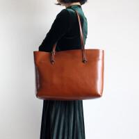 原创时尚潮流女包手工牛皮女包气质手提单肩包包大容量复古风
