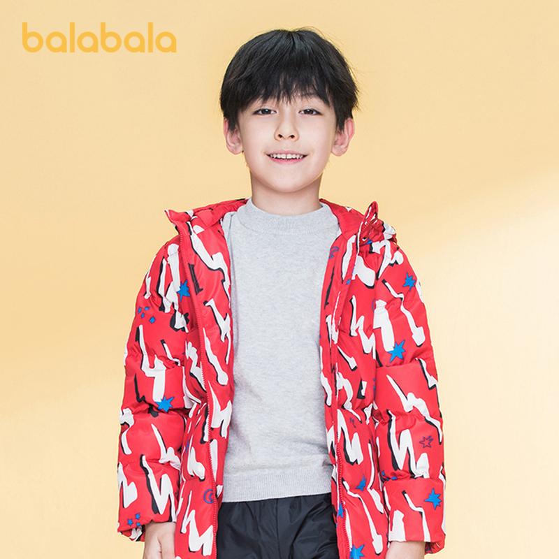 【开学季 折后叠券预估价:102.6】巴拉巴拉儿童羽绒服男童冬装外套宝宝童装中长款外套满印
