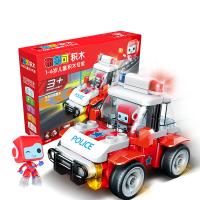 布鲁可大颗粒积木儿童玩具布鲁克男孩女孩百变布鲁可拼装积木玩具车交通工具系列生日礼物 百变警车E3(3岁+)