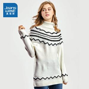 [每满150再减30元]真维斯毛衣女冬装新款女士高领提花宽松针织衫中长款加厚衣服