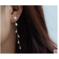 日韩版银珍珠耳钉长款女时尚气质耳环银饰品