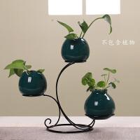 创意花器青瓷现代简约家居日用客厅装饰摆件工艺品小清新陶瓷水培花瓶 款01 三个套装-霁蓝