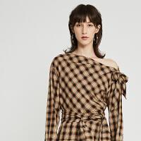 DAZZLE地素 2019秋装新款时尚新潮一字肩格纹衬衫女2G3D5113M
