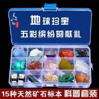 天然15格矿石晶体矿物标本盒水晶原石摆件地质原矿玛瑙石头送孩子