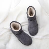 反季防水雪地靴冬季真皮低筒女短靴皮毛一体中筒加厚保暖棉鞋