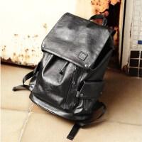 男士背包双肩包男韩版时尚潮流休闲旅行包电脑包中学生书包男软皮 黑色