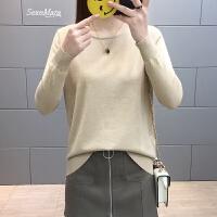 春装2018新款女短款低领亮丝毛衣女士打底衫长袖薄款针织衫百搭潮 S