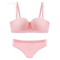无肩带抹胸内衣防滑上托聚拢薄款甜美半杯运动少女文胸套装 粉红色 文胸+内裤