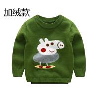 男童1-3岁宝宝毛衣秋新款小猪佩奇圆领套头针织加绒打底毛线衫 加绒