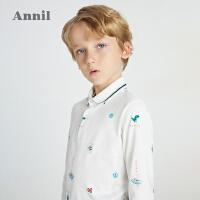 【1件5折价:84.5】安奈儿童装男童POLO衫长袖2021春新款纯棉洋气中大童男孩T恤翻领