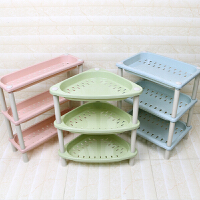 卫生间置物架三角落地 多功能迷你卫生间三角架层浴室置物架落地收纳架厨房储物桌面小型S 绿色 方形款