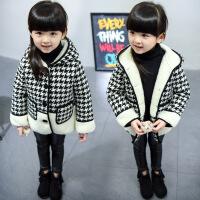 3岁季女童加绒加厚短款毛呢外套4儿童5小女孩6格子呢子大衣7潮 7码/90 身高80-90cm