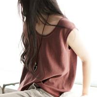春季新款女士圆领纯羊绒衫马甲短款针织打底套头衫