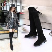 韩版百搭2018新款女长筒靴过膝靴绒面粗跟网红学生显瘦秋冬马丁靴