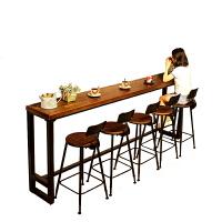 北欧家用吧台桌简约靠墙小水吧台实木长条高脚桌酒吧桌咖啡厅桌椅 组装
