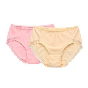 金丰田女士蕾丝内裤 棉质性感三角裤 简约时尚无痕纯色中腰 2条装28226