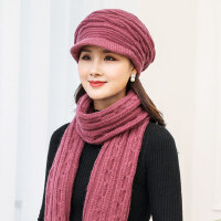 女士甜美可爱加厚针织帽 时尚女围巾女保暖帽子 新款保暖套装女帽子