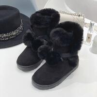 可爱雪地靴女2018新款软妹鞋子冬季加绒中筒加绒毛球棉鞋学生保暖