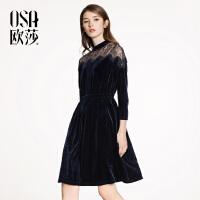 欧莎2018春装新款女装性感蕾丝拼接连衣裙