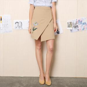 欧莎2017夏装新款女装 精美刺绣时尚个性半身裙B51002