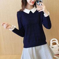 春秋冬甜美假两件套衬衫领上衣针织衫女长袖带领打底衫娃娃领毛衣