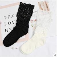 日系蕾丝花边中筒袜子女春季镂空拼接网袜潮流长筒靴袜
