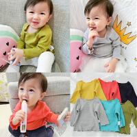 婴童装男女宝宝春装上衣婴儿纯棉打底衫罗纹木耳边长袖T恤