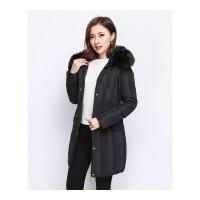 冬季新款修身大码女士大毛领中长款羽绒服外套上衣 女