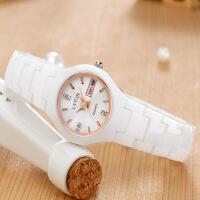 白色防水学生陶瓷手表女表潮流时尚双日历女士礼物手表石英表