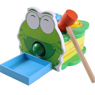 木制动物敲球台 儿童宝宝敲击打台早教益智动手打地鼠玩具1-2-3岁