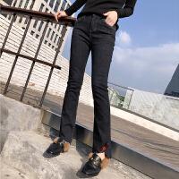 牛仔裤女加厚春季新脚口不规则牛仔喇叭裤潮休闲裤长裤深色高腰裤 深蓝色
