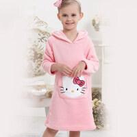 新款童装 保暖家居服儿童浴袍睡衣 女童珊瑚绒粉色KT猫睡袍