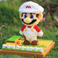 微型钻石小颗粒拼插积木玛丽马里奥大造型拼组装儿童益智玩具 红色马里奥