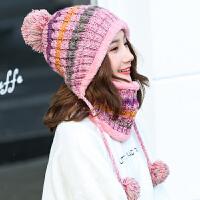 帽子女冬季韩版时尚潮可爱学生毛线帽加绒加厚保暖针织围脖套装秋冬天