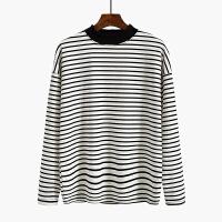 条纹长袖打底衫T恤女2018春装新款体恤韩版学生宽松百搭上衣服潮 均码