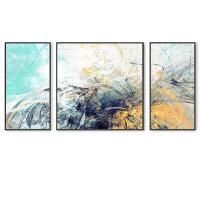 沙发背景墙客厅装饰画现代简约三联画北欧挂画抽象油画大气壁画