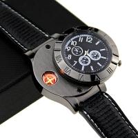 手表打火机充电防风创意个性USB电子点烟器金属男士腕表电热丝