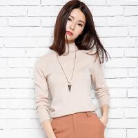 201春季新款女士半高领纯山羊绒衫休闲短款长袖针织打底套头毛衣