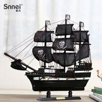 黑珍珠号加勒比海盗船模型工艺船 仿真木船实木质帆船模型摆件