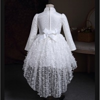 女童公主裙秋装加绒花童婚纱礼服红色裙子中大童加厚白色演出服 白色加绒 送皇冠