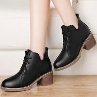 古奇天伦短靴女2016新款冬季粗跟女靴牛筋高跟鞋厚底圆头女鞋 8541