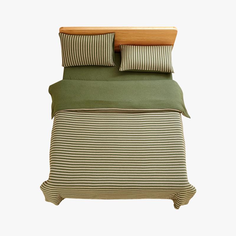当当优品家纺 全棉日式针织床品 1.5米床 床笠四件套 条纹草绿MUJI制造商