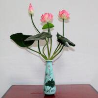 仿真荷花假花供佛用品 塑料莲花绢花小盆栽 家居装饰花小摆件花瓶Q