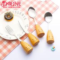 白领公社 刀叉套装 儿童餐具创意韩式木柄笑脸可爱刀叉套装榉木柄不锈钢西式餐具刀叉勺