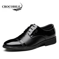 鳄鱼恤皮鞋百搭商务正装鞋尖头鞋系带婚鞋舒适男鞋