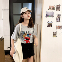 T恤 女士圆领印花洋气套头衫2019年夏季新款韩版清新甜美女式学生宽松时尚女装短袖
