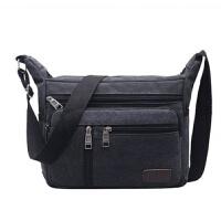 新款男包帆布男士休闲包包单肩包斜跨背包横款大容量多功能斜挎包背包