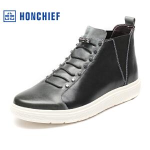 HONCHIEF 红蜻蜓旗下 春秋新款正品真皮时尚高帮拼色男鞋休闲皮鞋
