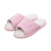 当当优品 四季家居棉麻拖鞋软底木地板拖鞋女款 粉红39-40 HM1719